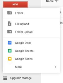 Create doc - New menu open