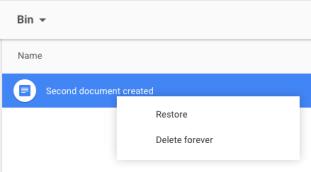 Delete a file - Restore